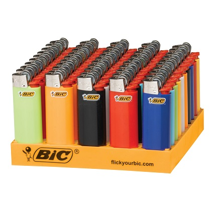 BIC Classic Lighters, BIC Pocket Lighters & BIC Bohemian Lighters Wholesale, Assorted Colors, 50-Count Tray. Buy Quality bic lighters online.